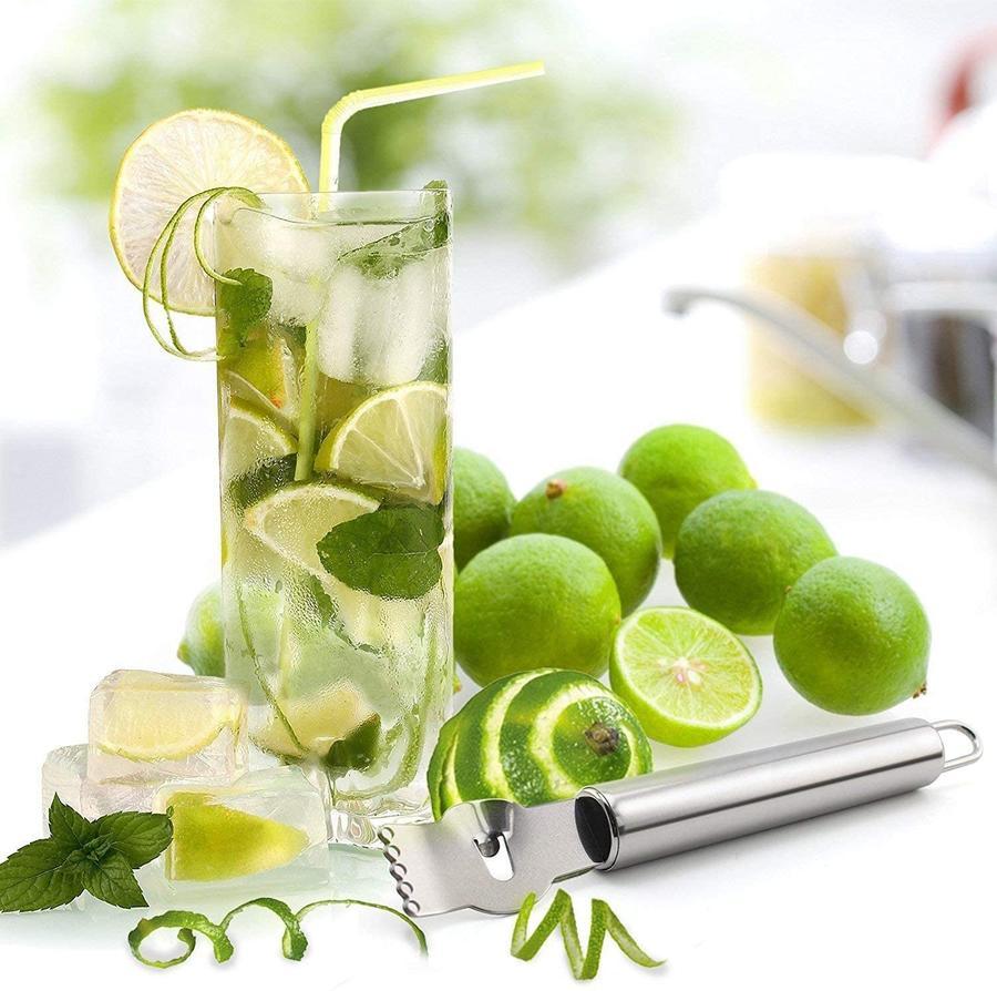 Grattugia Limone Pelatrici per Limoni Arancia in Acciaio da Cucina per agrumi Pelapatate Coltello a canali
