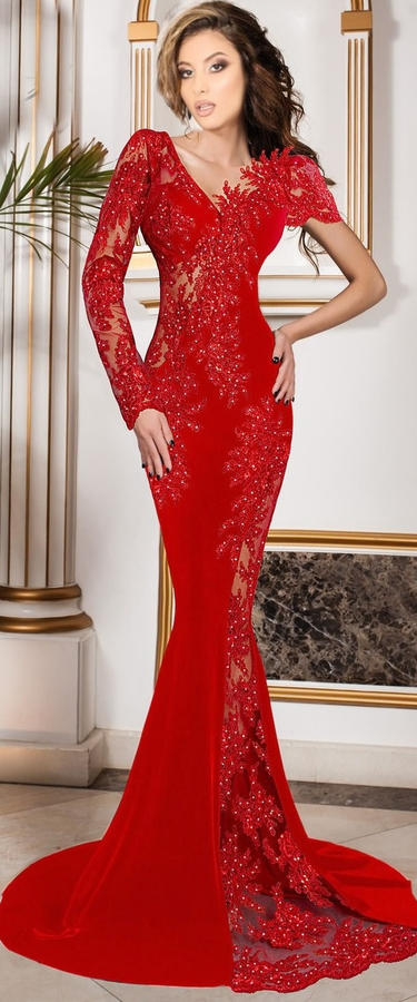 0635 LONG SIREN RED DRESS IN ELASTIC CREPE FABRIC WITH TRANSPARENCY IN TULLE AND MACRAME'