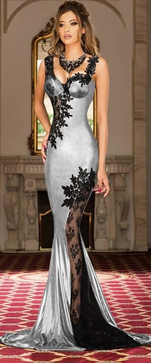 0637 LONG SIREN DRESS IN LAMINATE ELASTIC SILVER FABRIC WITH TRANSPARENCY IN TULLE AND MACRAME'