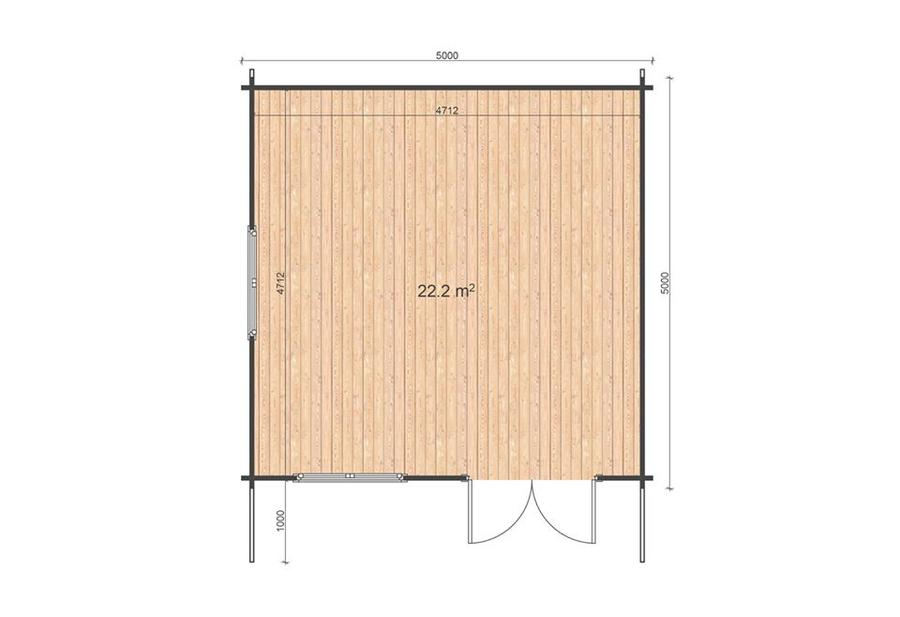 CASETTA IN LEGNO MOD. SVEZIA PREMIUM 5,00 m x 5,00 m - 44 mm