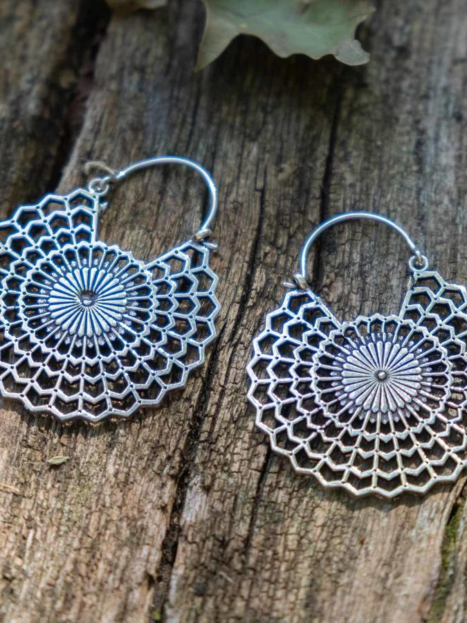 Silver-plated earrings with sun mandala and hook closure