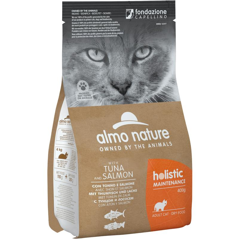 Almo Nature Gatto Holistic Tonno & Salmone Disponibile nei formati 400 gr - 2 Kg