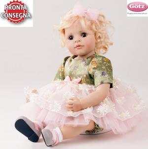 """Bambola da Collezione Vinile """"Gabrielle di Bettine Klemm"""" con Vestitino a Fiori e Tulle, edizione limitata 250 pezzi Gotz Made in Germany"""