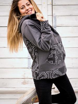 Women's sweatshirt Tushar asymmetrical zip collar and hood - gray patchwork
