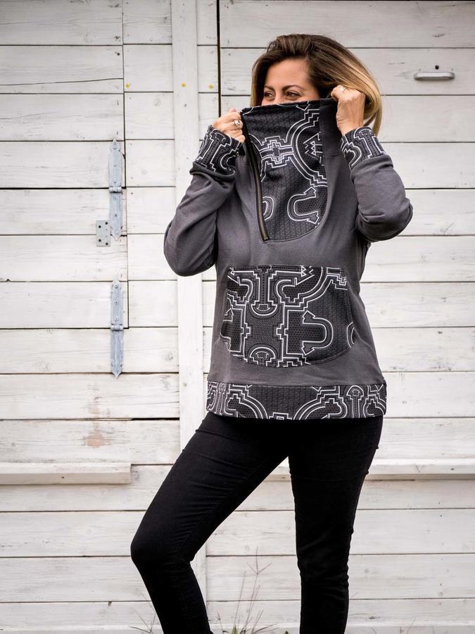 Felpa donna Tushar collo con zip asimmetrica e cappuccio - patchwork grigia