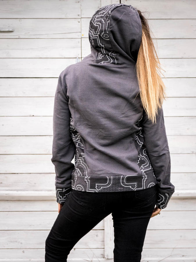 Women's sweatshirt Tushar asymmetrical zip collar and hood - gray patchwork