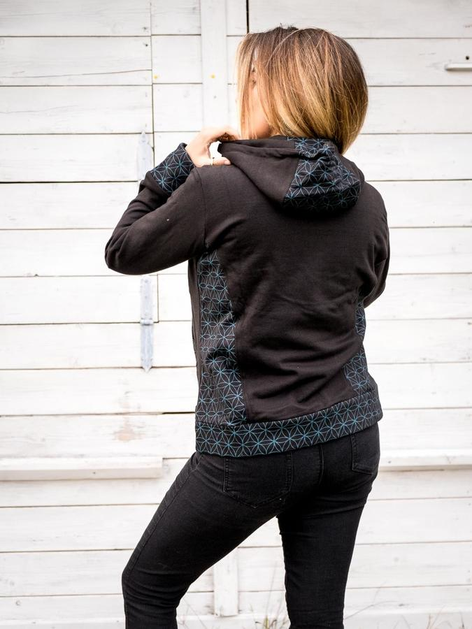Women's sweatshirt Tushar asymmetrical zip collar and hood - blue black patchwork