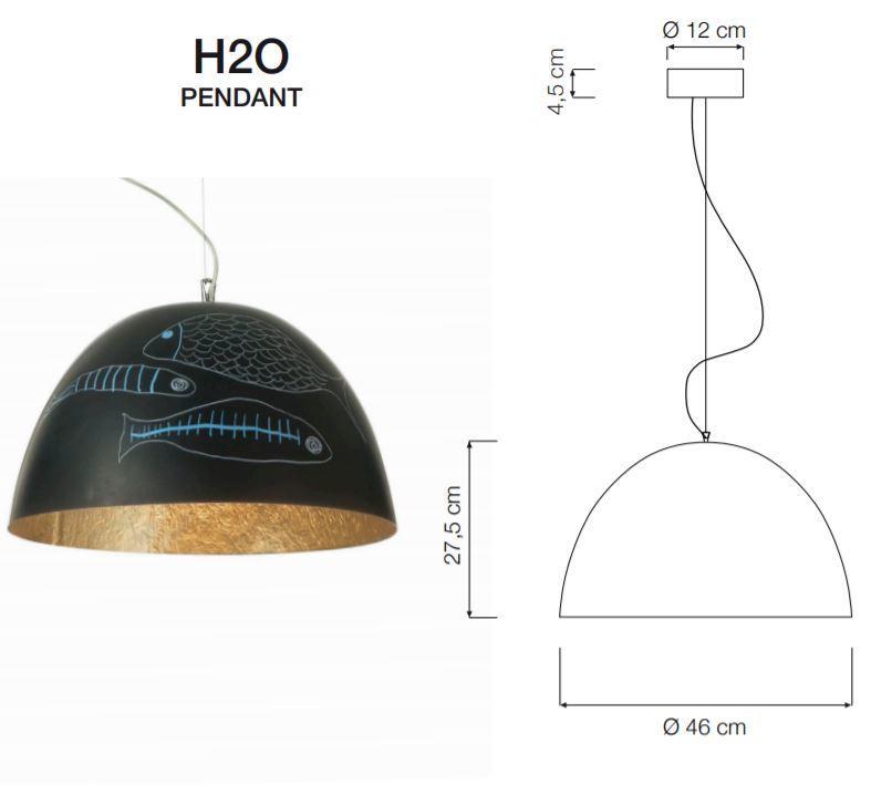 Lampada a Sospensione H2O Lavagna Collezione Matt di In-es.artdesign, Varie Finiture - Offerta di Mondo Luce 24