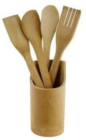 Porta Mestolo Mestoli in Legno bambù con 4 Mestoli Posate Portaposate Cucina