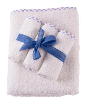Set Asciugamano Neonati e Bambini 65x85 cm 3 Lavette Colore Bianco con Bordo a Pois