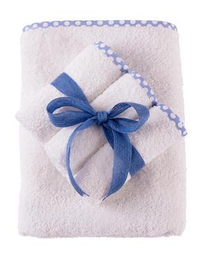Set Asciugamano Neonati e Bambini 65x85 cm 3 Lavette Colore Bianco con Bordo a Pois Azzurro