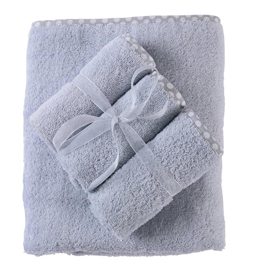Set Asciugamano Neonati e Bambini 65x85 cm 3 Lavette Colore Ghiaccio con Bordo a Pois
