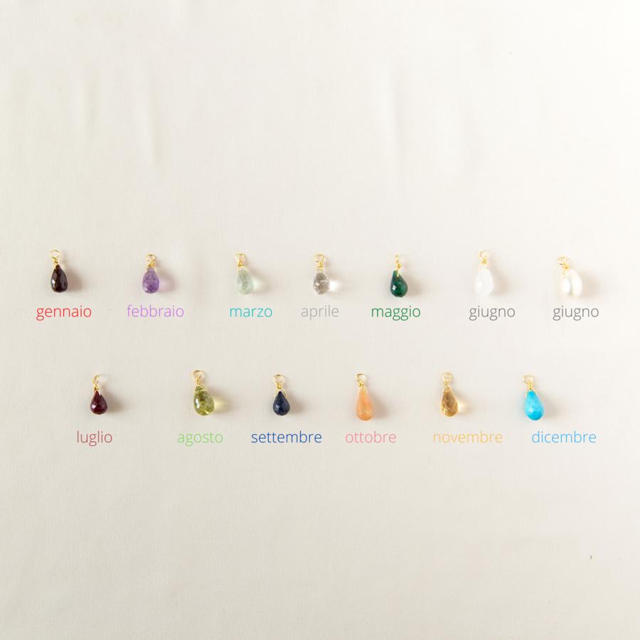 Orecchini con tondo irregolare e pietre di nascita [ + colori ]