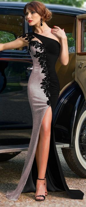 0638 EVENING DRESS ONE SHOULDER WITH SPLIT AND MACRAME'