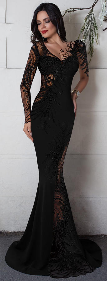 0641 LONG SIREN BLACK DRESS IN ELASTIC CREPE FABRIC WITH TRANSPARENCY IN TULLE AND MACRAME'