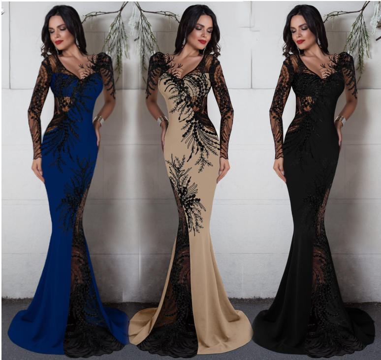 0639 LONG SIREN BLACK DRESS IN ELASTIC CREPE FABRIC WITH TRANSPARENCY IN TULLE AND MACRAME'