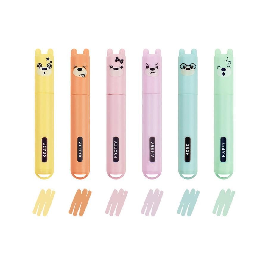 Set di 6 Mini Evidenziatori Pastello - Teddy's Style -
