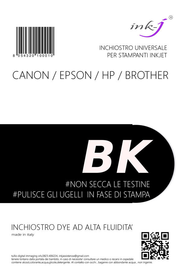 INCHIOSTRO UNIVERSALE DYE DA 1 LITRO BLACK PER CANON-EPSON-HP-BROTHER