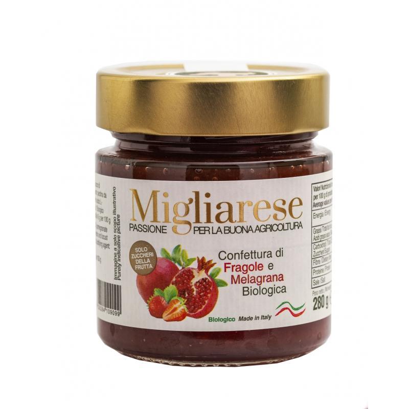 Confettura extra di Fragole e succo di Melograno Bio, Migliarese, 280 gr
