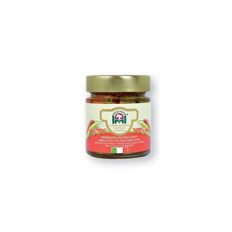 Peperoncini a pezzi in Olio Evo, Migliarese, 240 gr