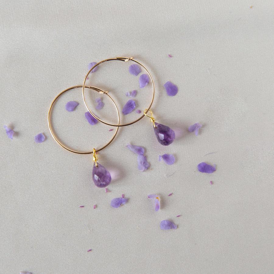 Cerchio singolo sottile in gold-filled con pietra di nascita [ + misure ]