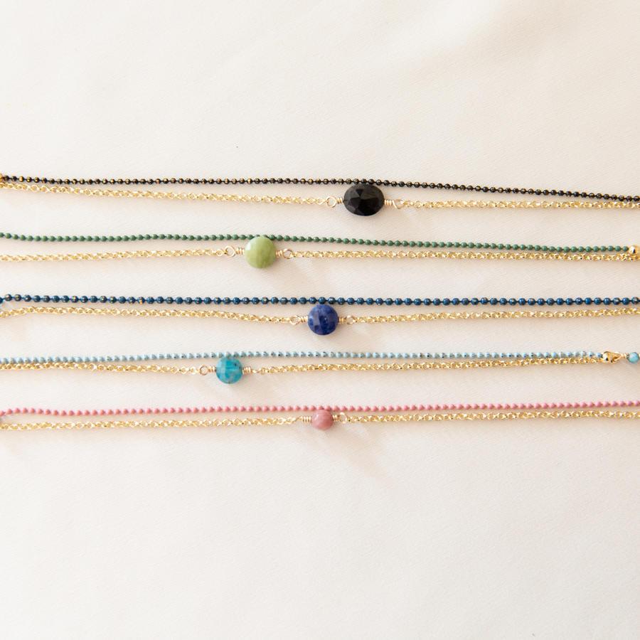 Bracciale bicolore con pietra [ + colori ]