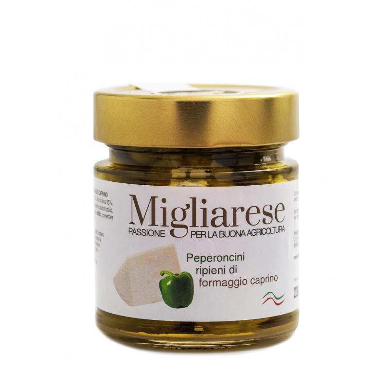 Peperoncini Verdi farciti con Formaggio Caprino, Migliarese, 230 gr.