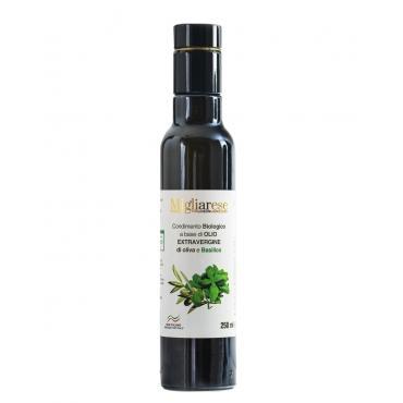Condimento Biologico a base di Olio Extravergine di Oliva e Basilico, Migliarese, 20 ml.