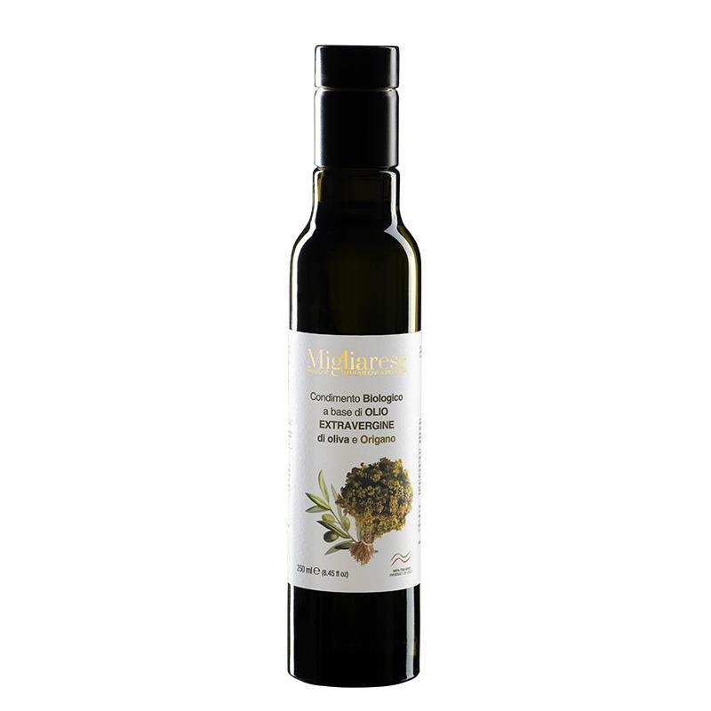 Condimento biologico a base di Olio Extravergine di Oliva e Origano, Migliarese, 250 ml.