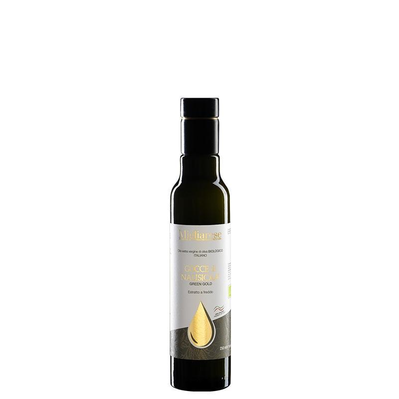 """Olio Extravergine di Oliva Biologico """"Gocce di Nausicaa"""" Green Gold, Migliarese,  250 ml"""