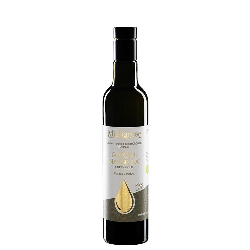 """Olio Extravergine di Oliva Biologico """"Gocce di Nausicaa"""" Green Gold, Migliarese, 500 ml"""