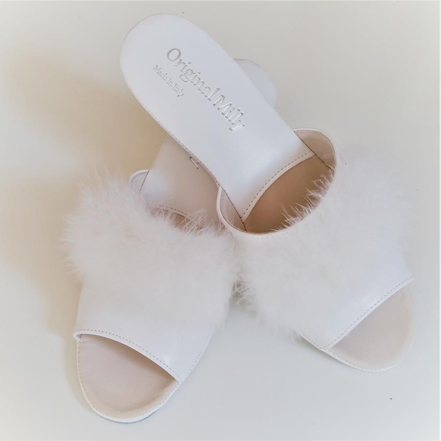 Milly Cigno 102 ciabatte bianche aperte eleganti piuma Marabou