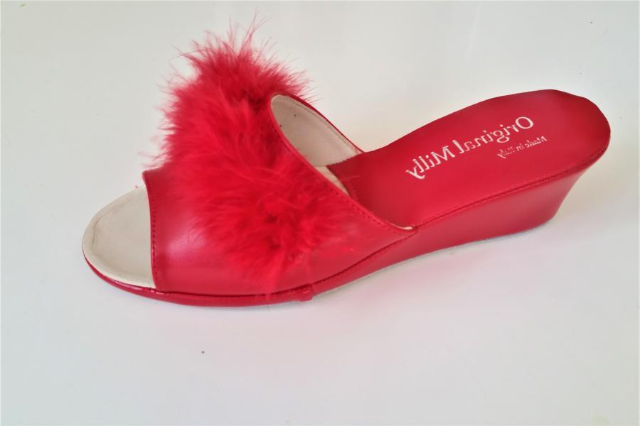 Milly 102 CIGNO ciabatte rosse eleganti aperte Piuma Marabou