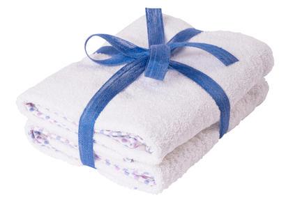 Asciugamano Neonati e Bambini 65x85 cm Bianco con Bordo a Pois