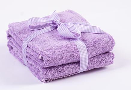 Asciugamano Neonati e Bambini 65x85 cm  Lilla con Bordo a Strisce