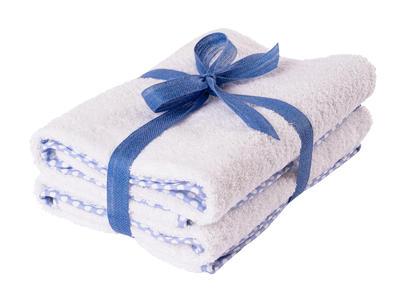 Asciugamano Neonati e Bambini 65x85 cm Bianco con Bordo Azzurro a Pois
