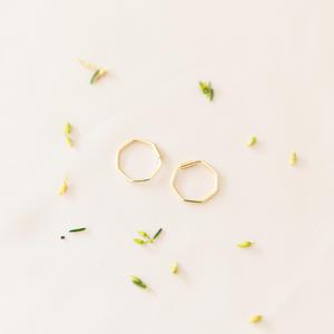 Orecchini esagonali in argento 925 dorato