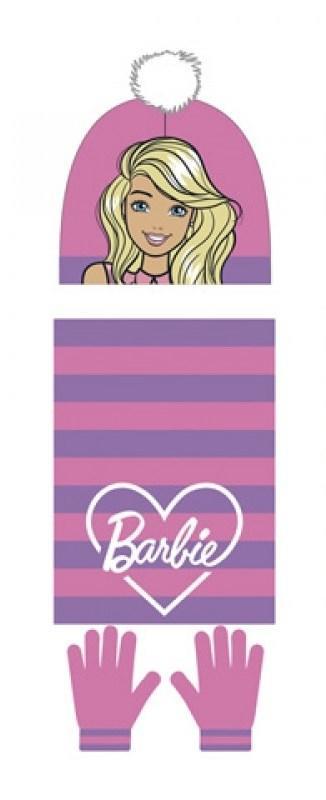 Barbie set 3 pz cappello pon pon- sciarpa -guanti