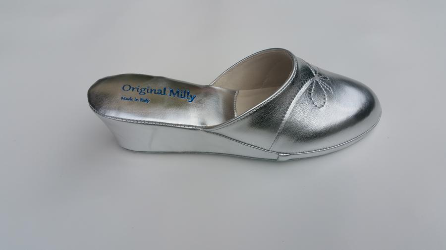 Milly 3000 ciabatte da camera con zeppa chiuse color argento