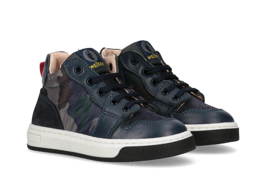 Walkey - Sneaker - Pelle & Tessuto - Blu mimetico