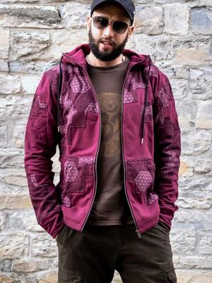 Men's sweatshirt Mayur zip closure and hood - patchwork bordeaux