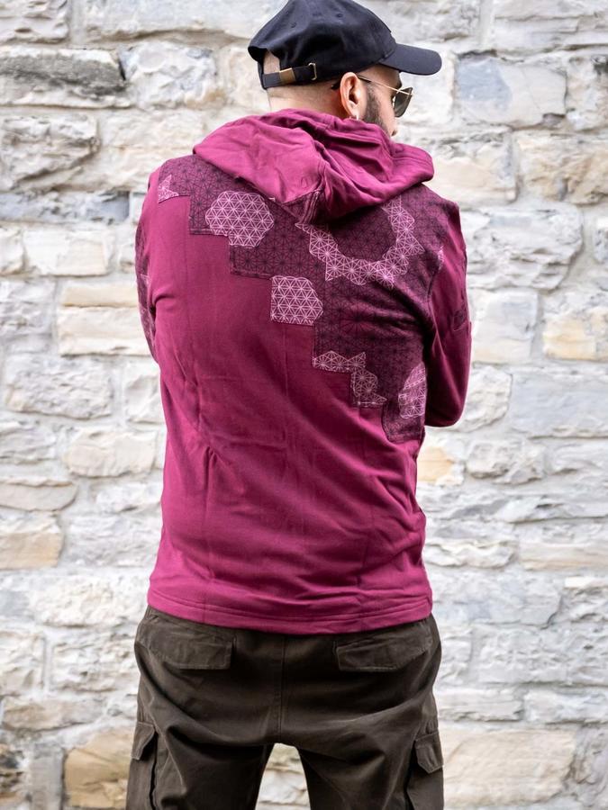 Men's sweatshirt Mayur zip closure and hood - patchwork bordeaux