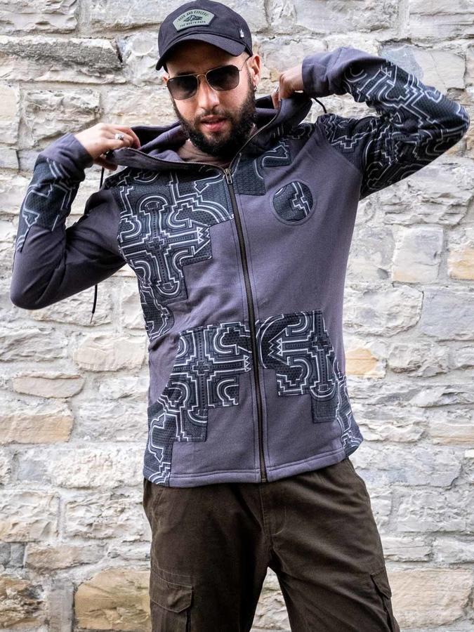 Sudadera hombre Mayur cierre cremallera y capucha - patchwork gris