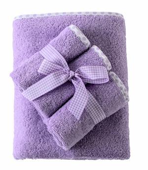 Set Asciugamano Neonati e Bambini 65x85 cm 3 Lavette Colore Lilla con Bordo a Pois