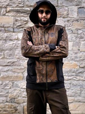 Sudadera de hombre Nandish con cremallera y capucha - negro mostaza