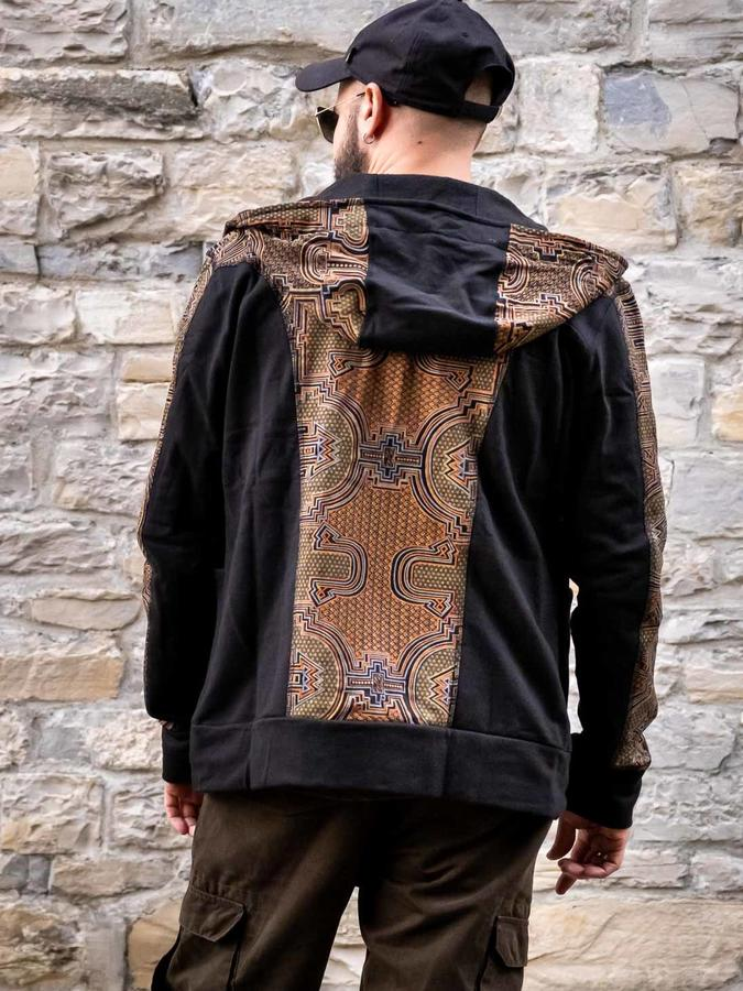 Nandish men's sweatshirt with zip and hood - black mustard