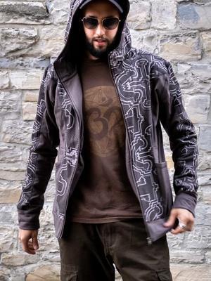 Sudadera de hombre Nandish con cremallera y capucha - gris blanco