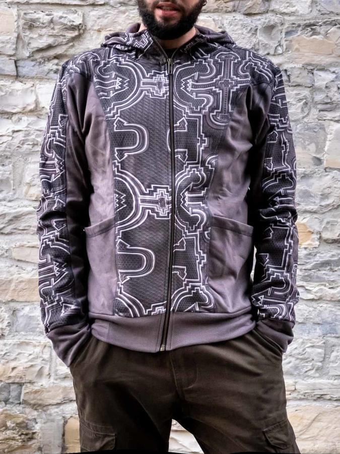 Felpa uomo Nandish con zip e cappuccio - grigio bianco