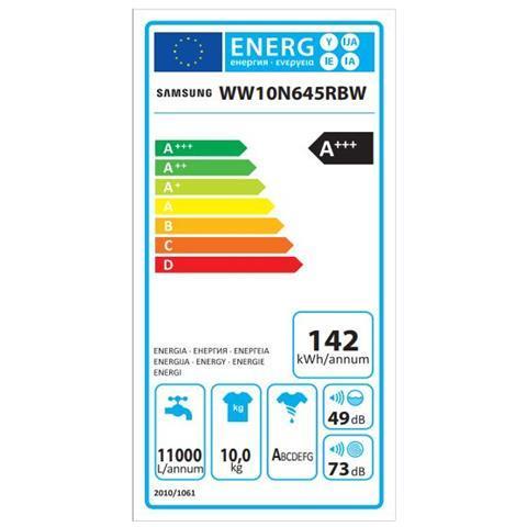 SAMSUNG Lavatrice Standard WW10N645RBW Serie 6500 Ecolavaggio 10 Kg Classe A+++ -40% Centrifuga 1400 giri