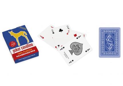 Carte Poker Cavallino Plastica Blu